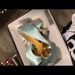 Badgley Mischka Kiara Platform Pumps (teal)